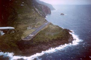 Approaching Saba Juancho E. Yrausquin Airport runway