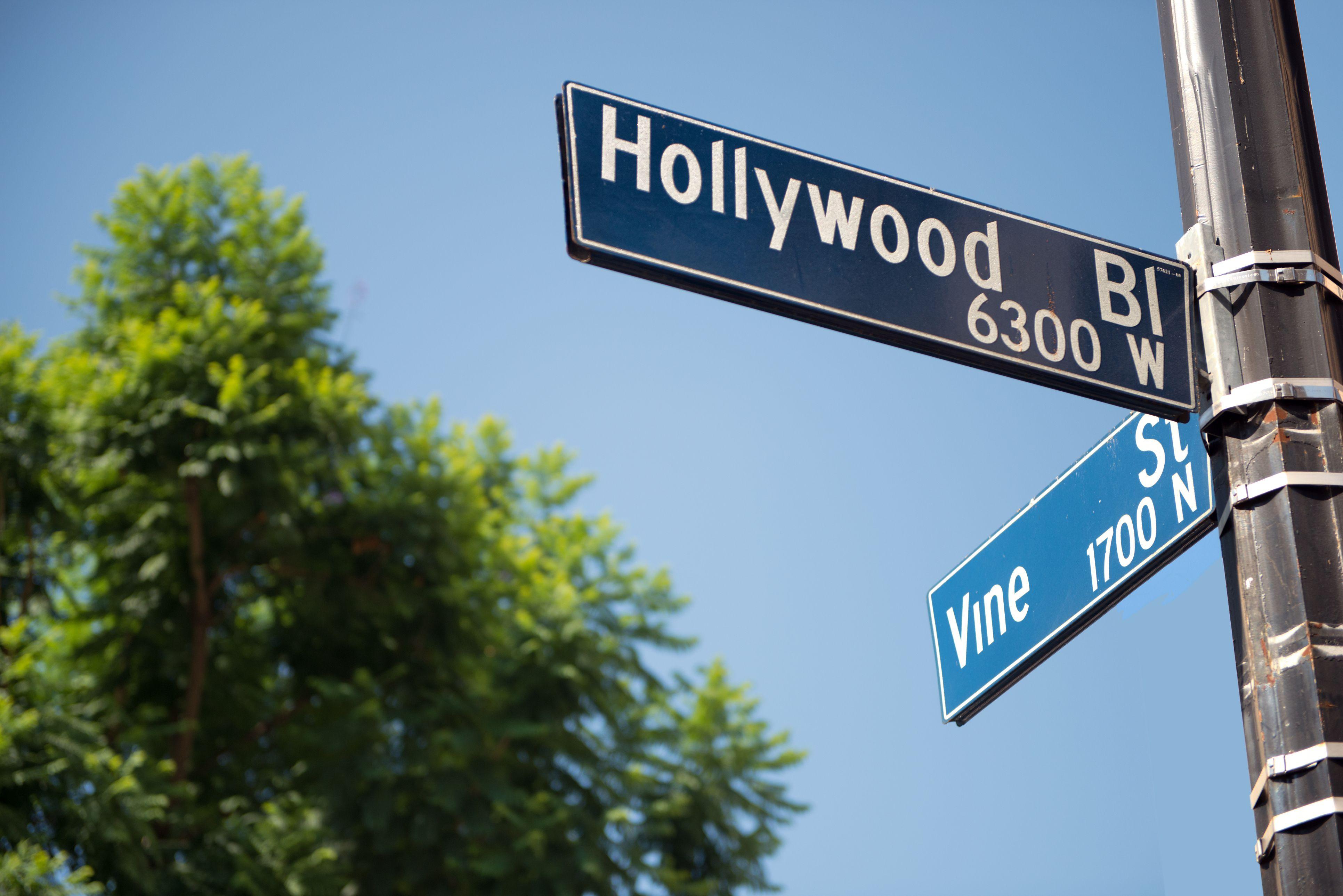 Hollywood Boulevard and Vine Street street signs, Hollywood, California, America, USA