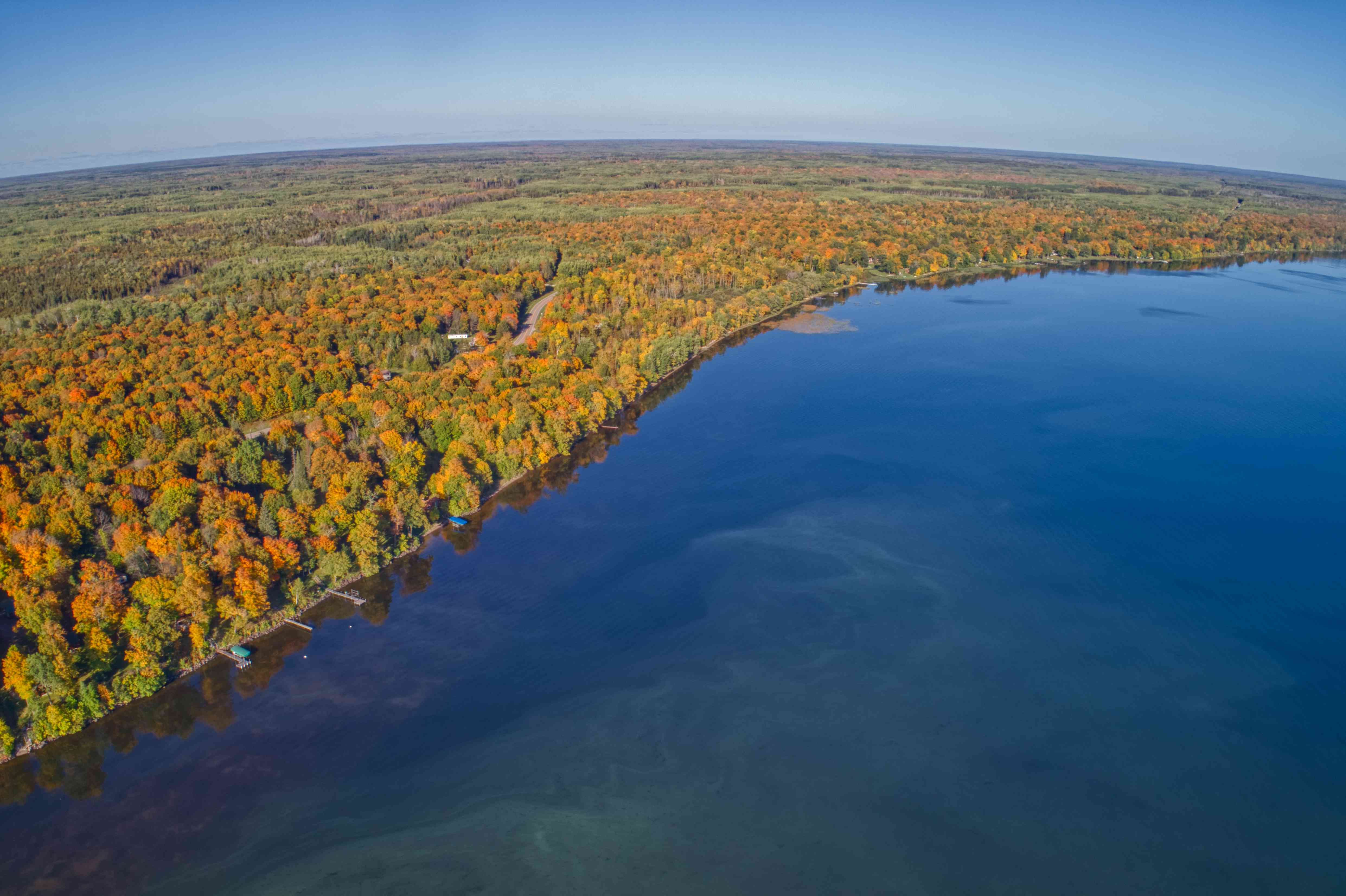 Aerial Viewe of a northern Minnesota Lake in autumn