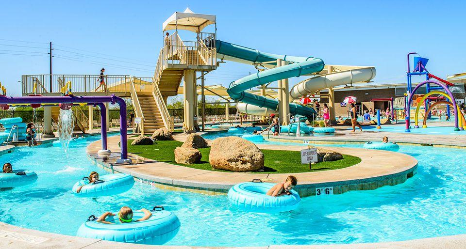 Pool and water slides at Chandler Aquatics