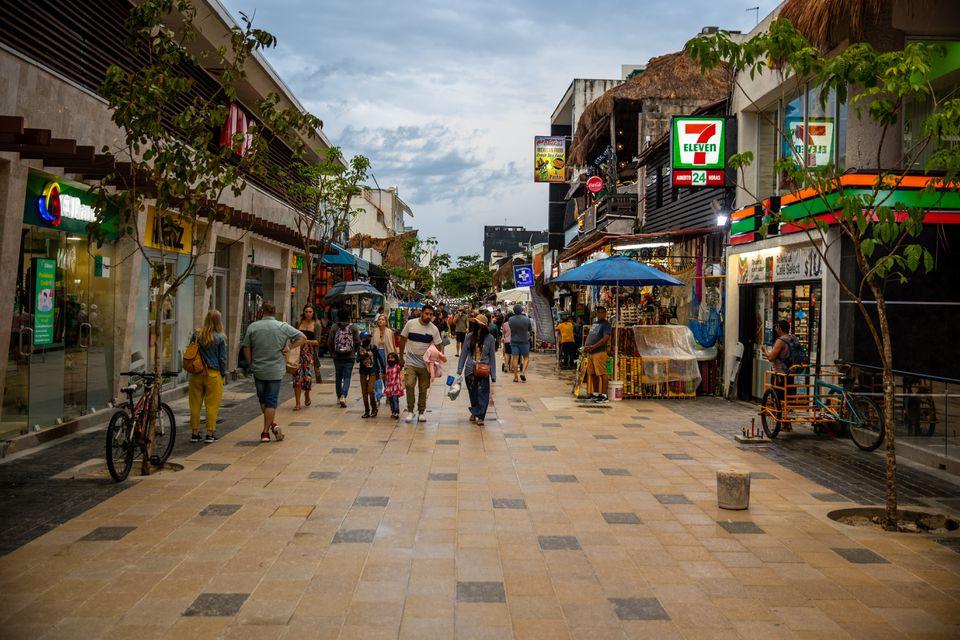 A shopping street in Playa del Carmen