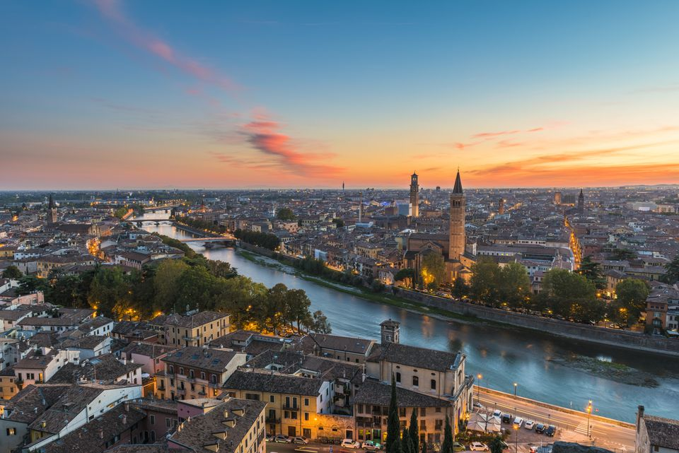 Elevated view of Verona old town at dusk. Verona, Veneto, Italy