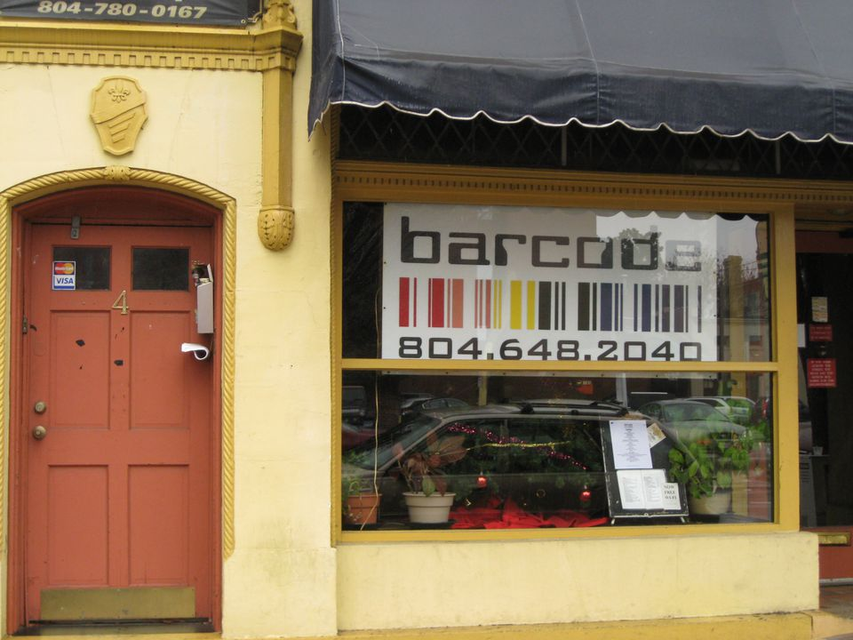 Exterior of the Barcode restaurant in Richmond, Virginia