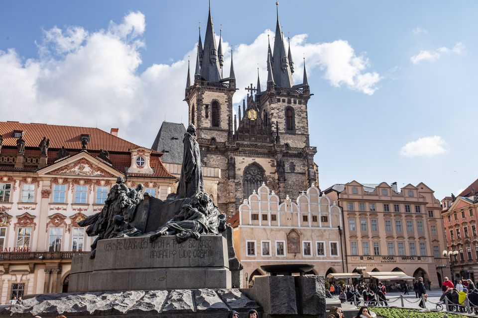 Prague architecture with St Vitus cathedral in the background