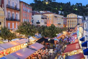 Open air restaurants in Cours Saleya, Nice, Alpes-Maritimes, Provence, Cote d'Azur, French Riviera, France, Europe