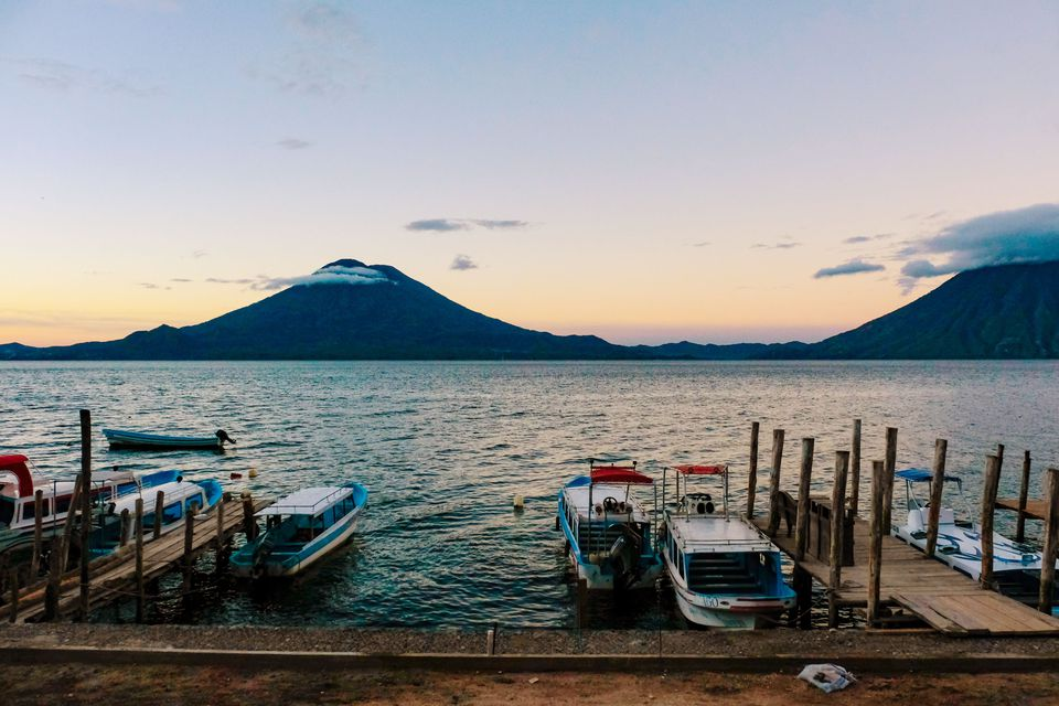 The dock on Lake Atitlan looking at the Volcano across the lake