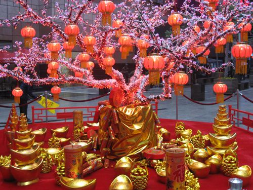 Shopping mall decorated for Chinese New Year.