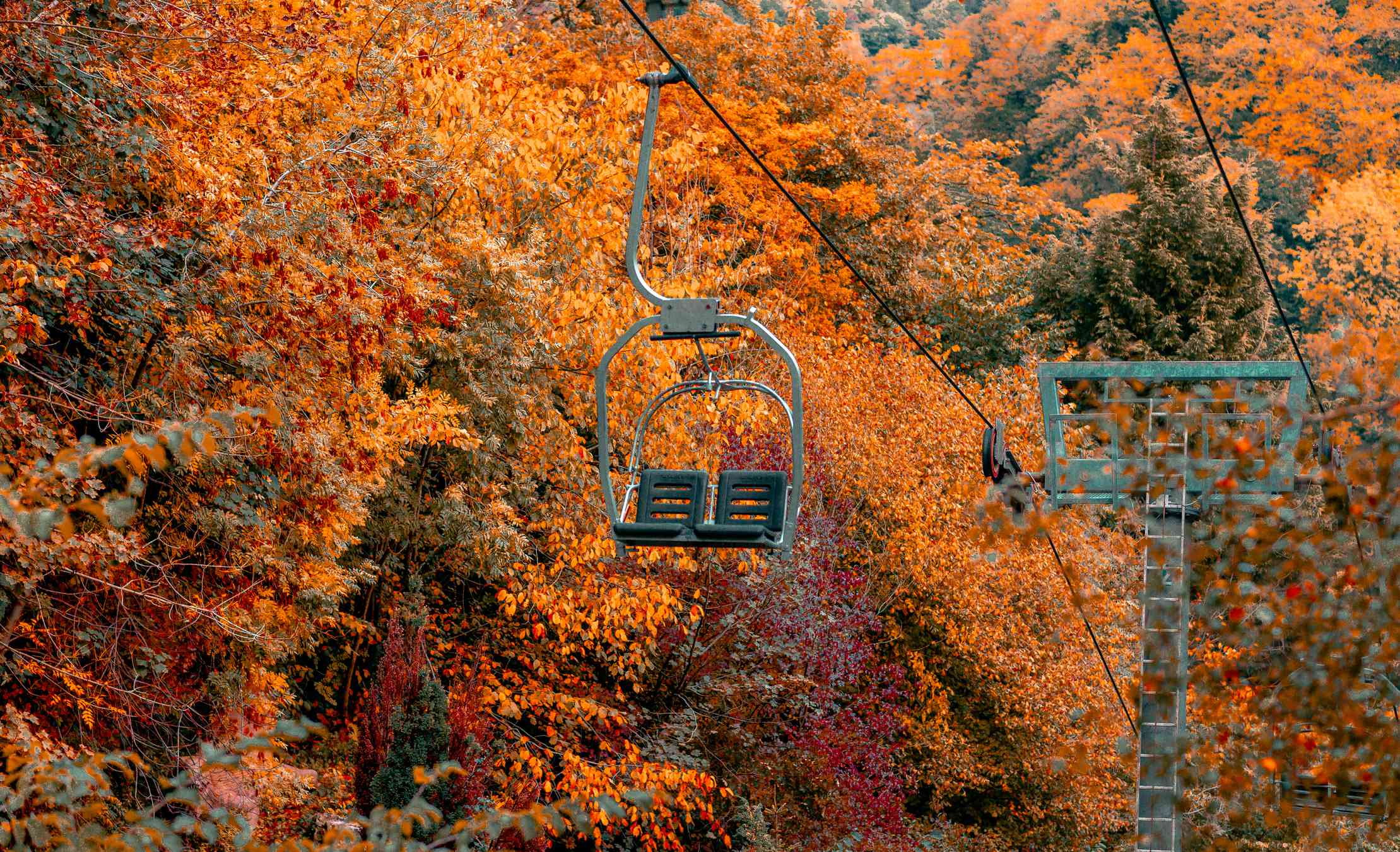 Chairlift in fall