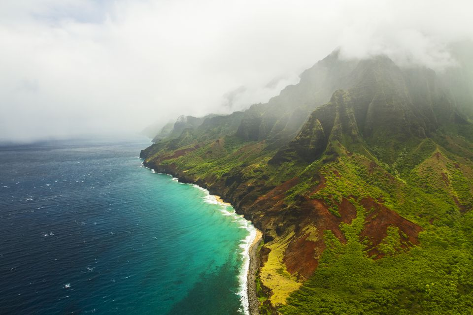Clouds over Kauai island in Hawaii