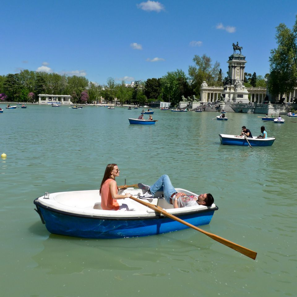 Boats on a Lake at Retiro Park.