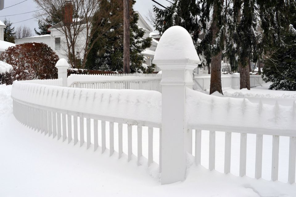Snow on Fence in Sag Harbor, Suffolk County, Long Island