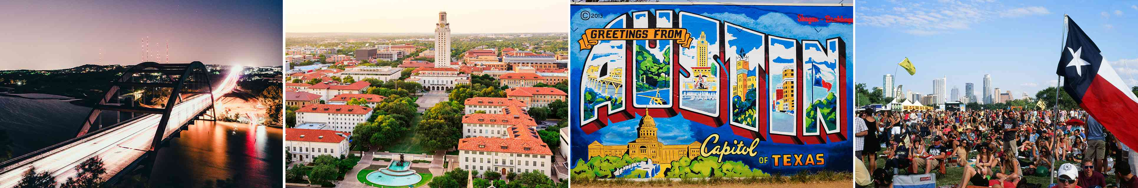 Collage of images including Pennybacker Bridge, University of Texas at Austin, Greetings from Austin wall mural, and a big crowd audience at the Austin City Limits music festival