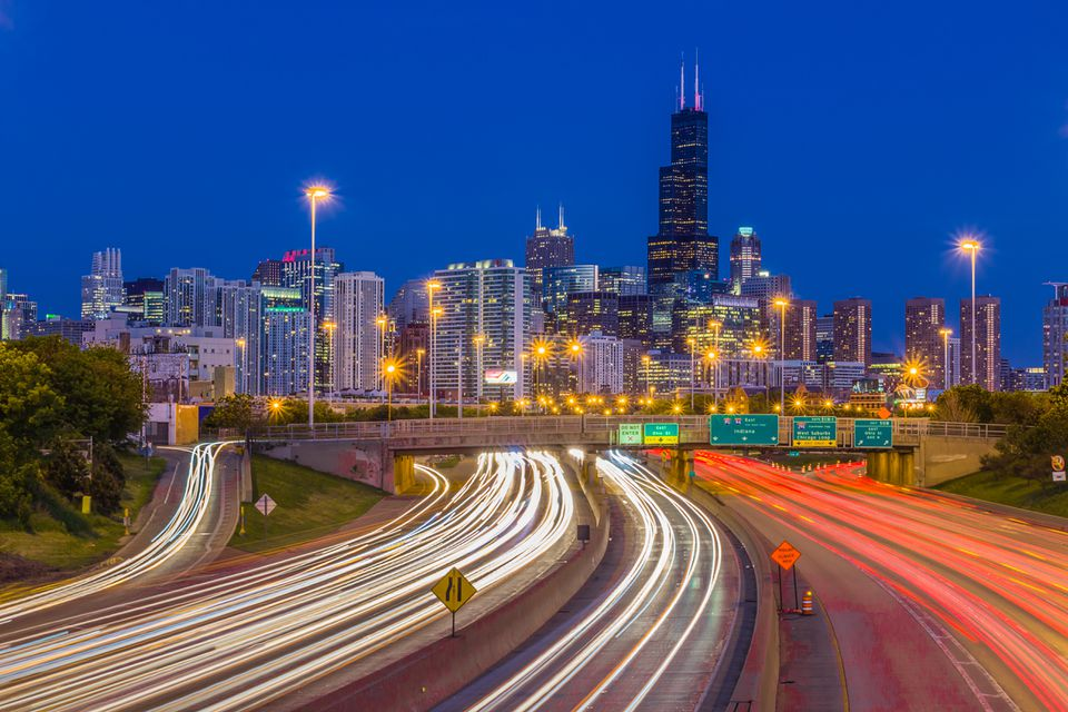 Chicago Rush Hour Traffic On The Kennedy Expressway