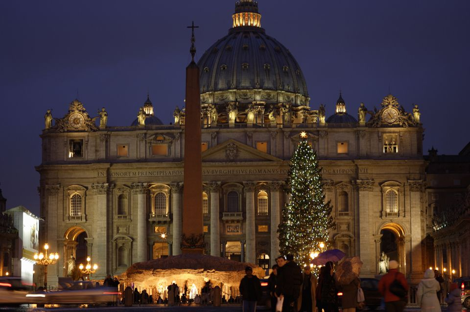 Christmas crib in front of St Peters Basilica, Rome, Italy