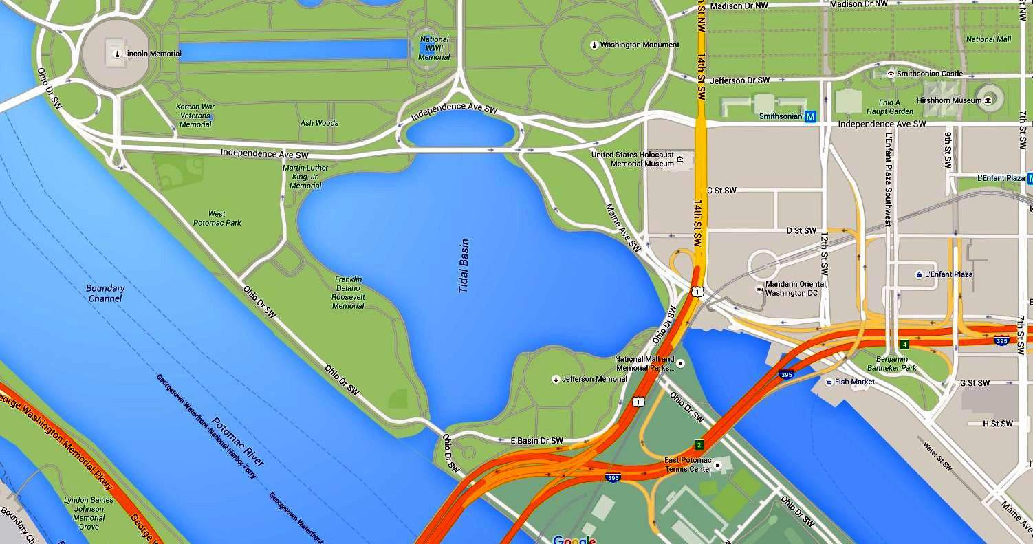 Where is the Tidal Basin in Washington DC? on map of dc buildings, map of washington monuments museums, map of dc landmarks, map of washington dc attractions, map of washington memorials,