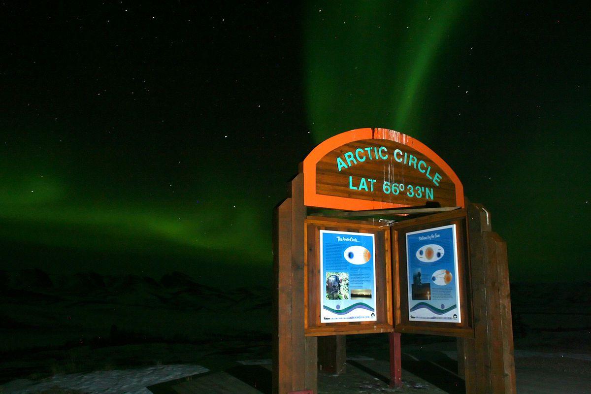 Arctic Circle marking at Latitude 66º33'N, Yukon, Northwest Territories, Canada