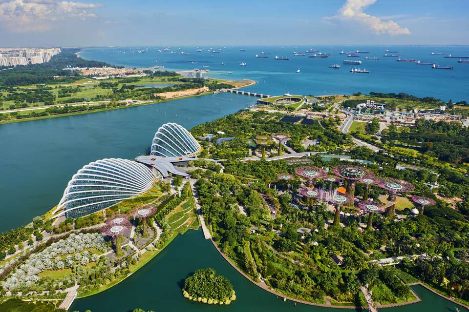 Singapore aerial view with Garden By the bay and Supertree Grove