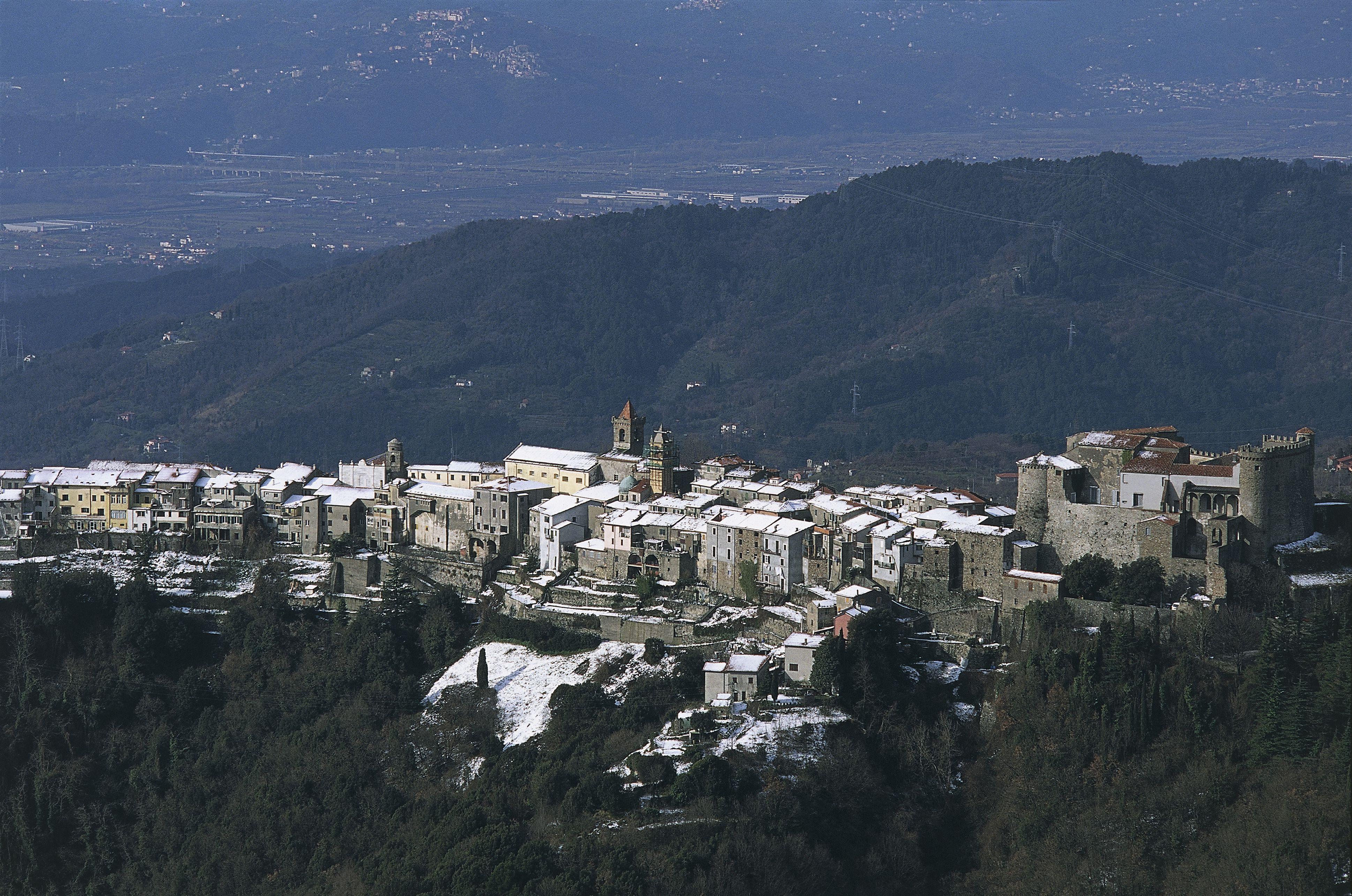 Aerial view of a city, Fosdinovo, Lunigiana, Tuscany, Italy