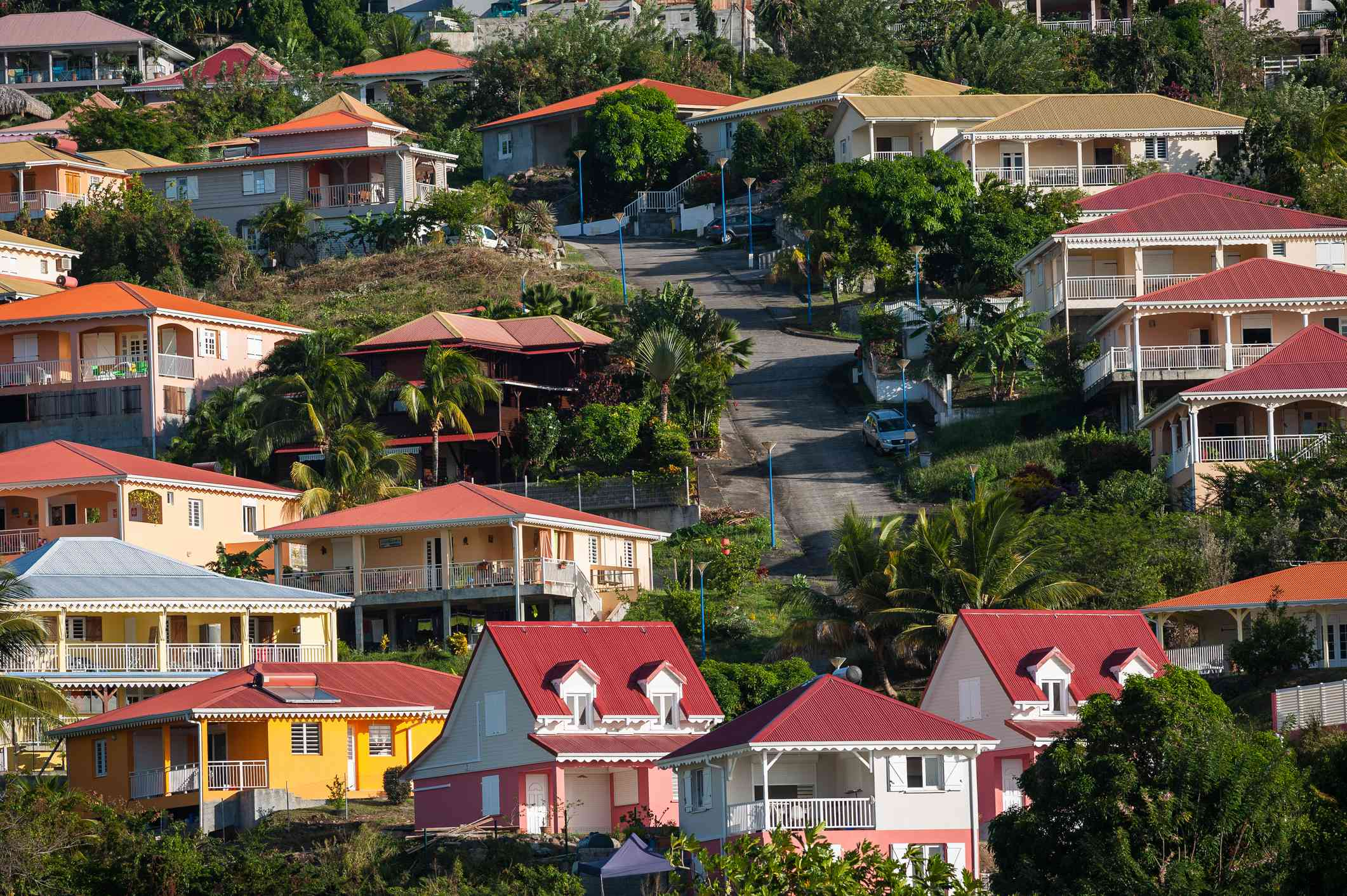 houses with colorfooves on a hill in martinique