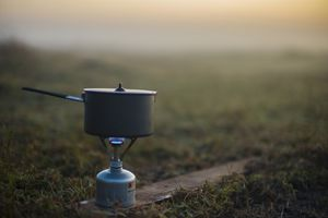 Pot over camping stove