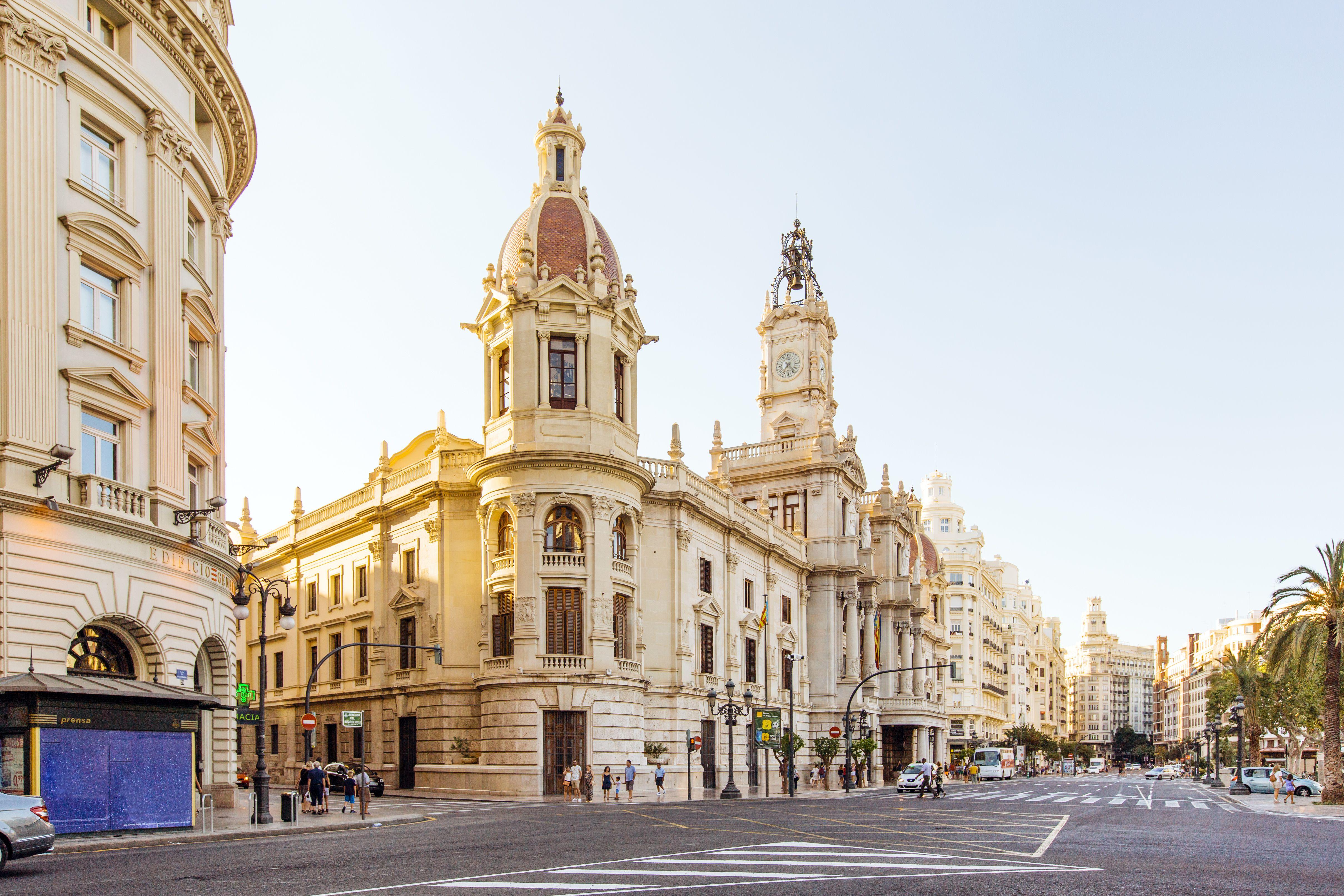 City street with view towards City Hall, Plaza del Ayuntamiento, Valencia, Spain
