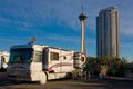 RV parked in front of The Stratosphere Hotel Tower in Las Vegas