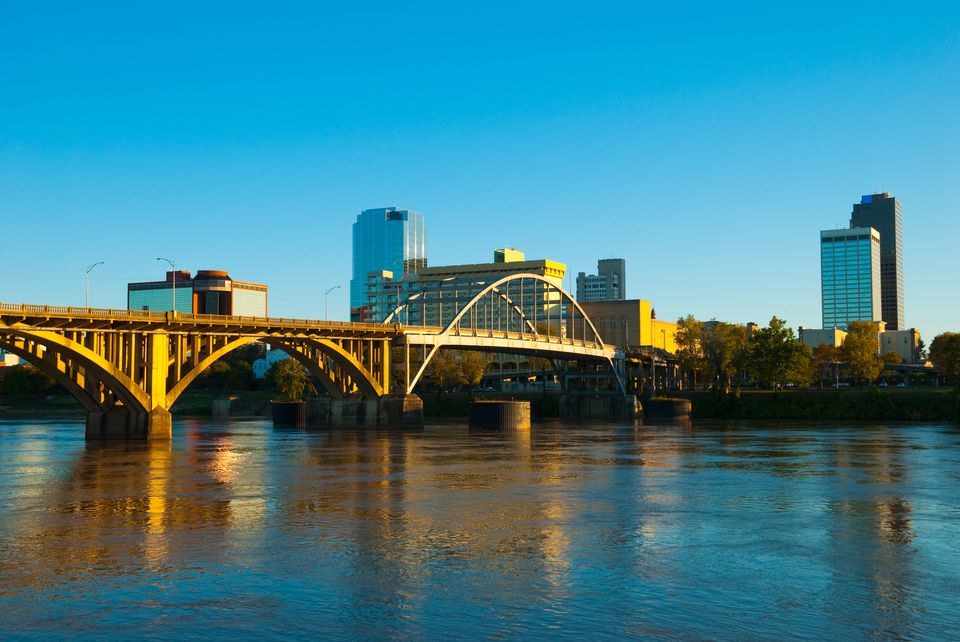 Little Rock skyline, river, and bridge