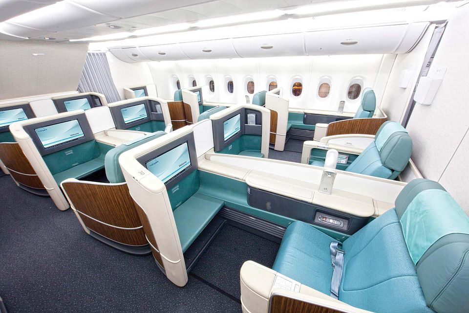 The First Class cabin on a Korean Air A380