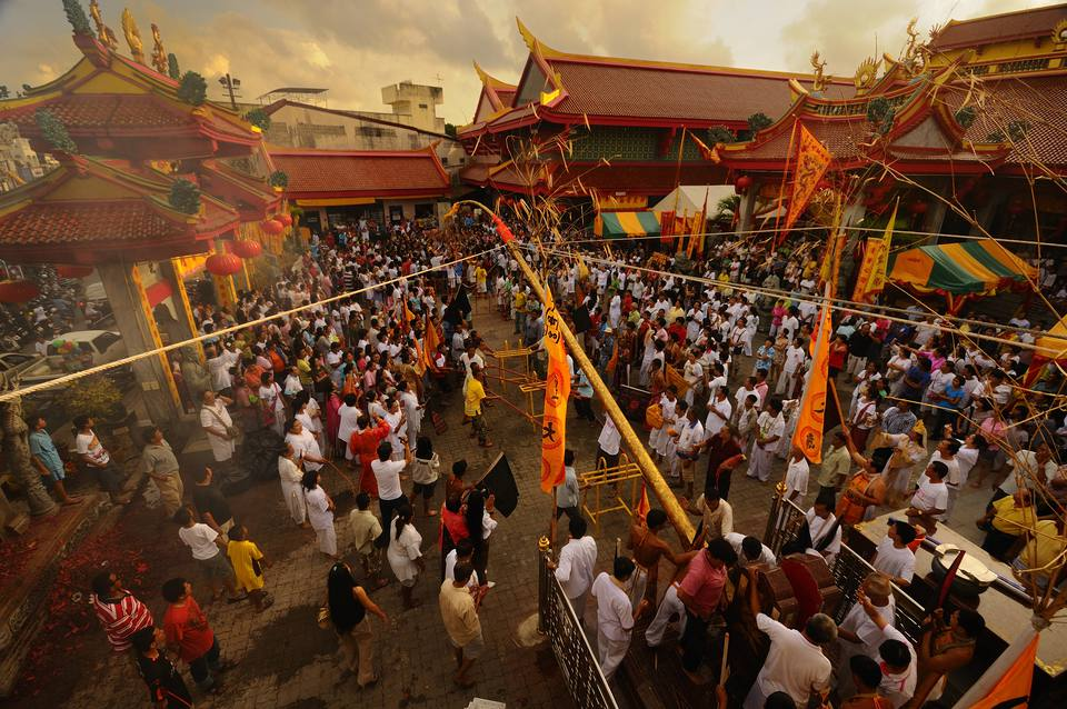 Crowd gathered at the Phuket Vegetarian Festival in Thailand