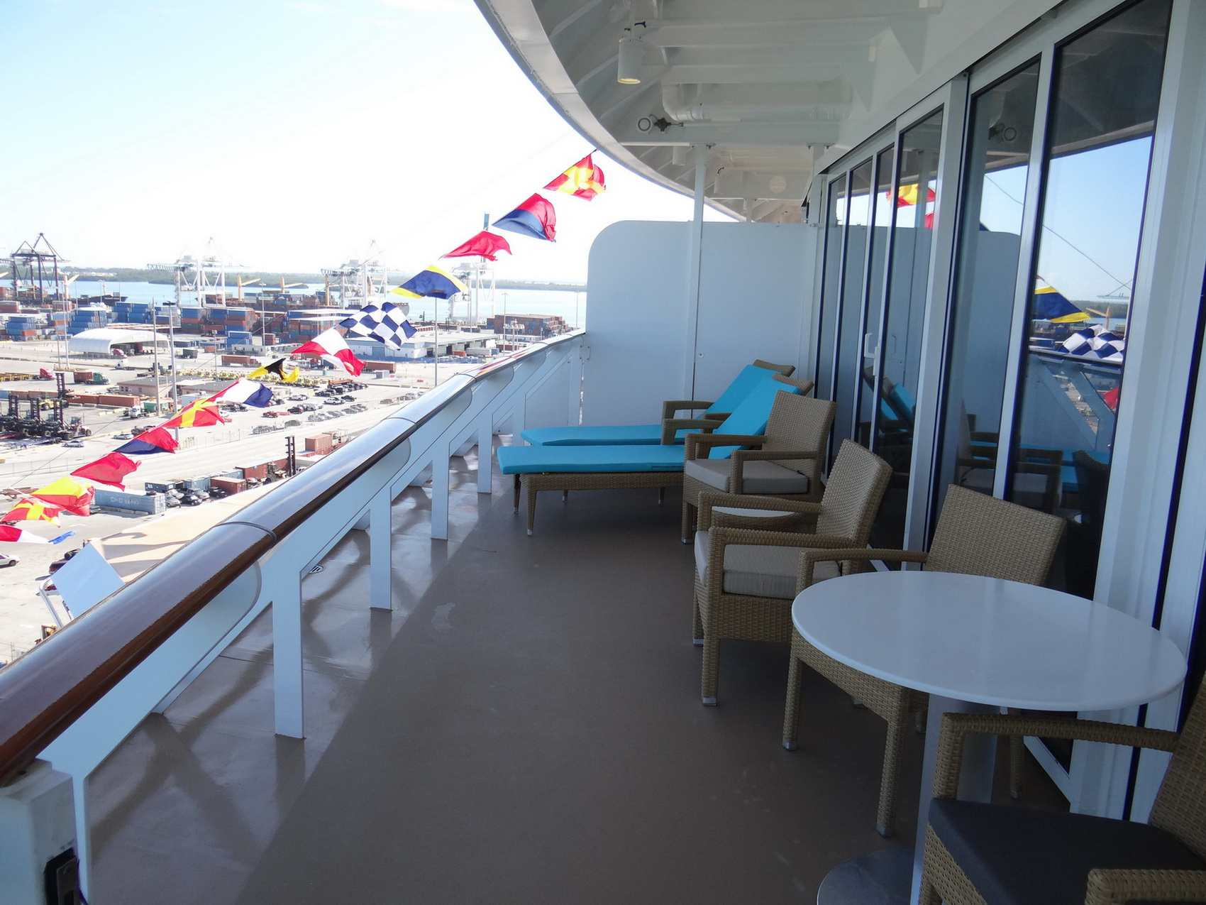 Large deck in the deluxe owner's suite of The Haven on the Norwegian Getaway