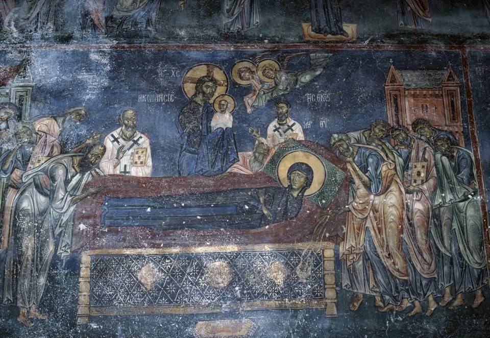 Dormition of the Virgin, 1170-1180, fresco in the Byzantine church of Agios Nikolaos, Kastoria, West Macedonia. Greece, 12th century