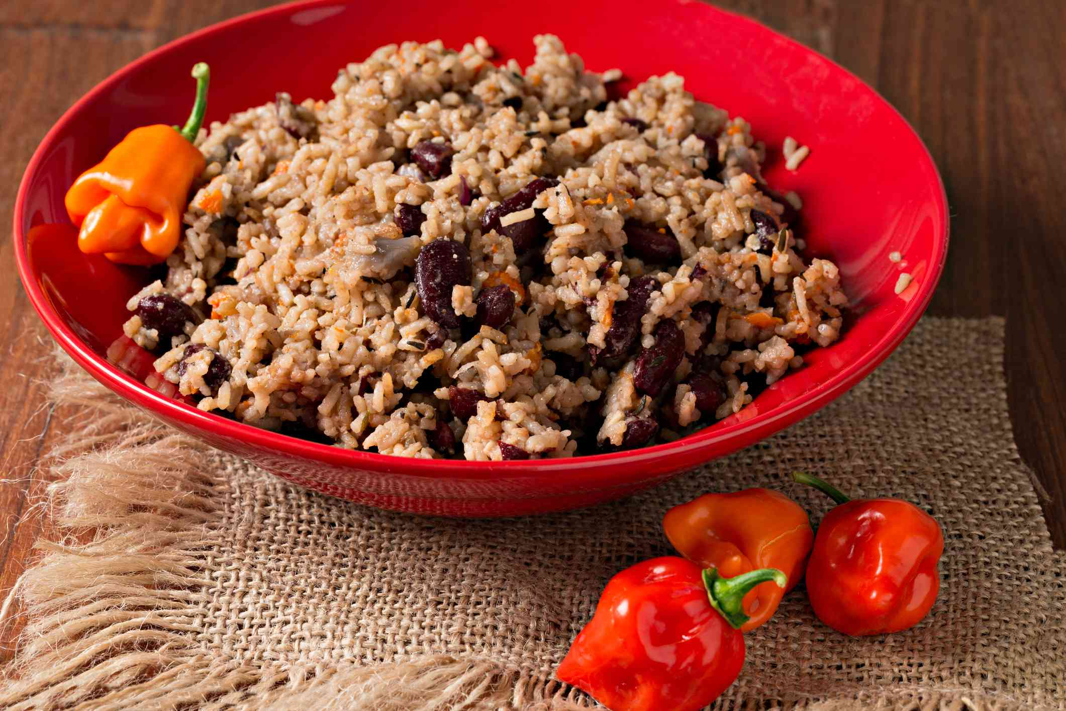 Bowl Of Jamaican Rice And Peas