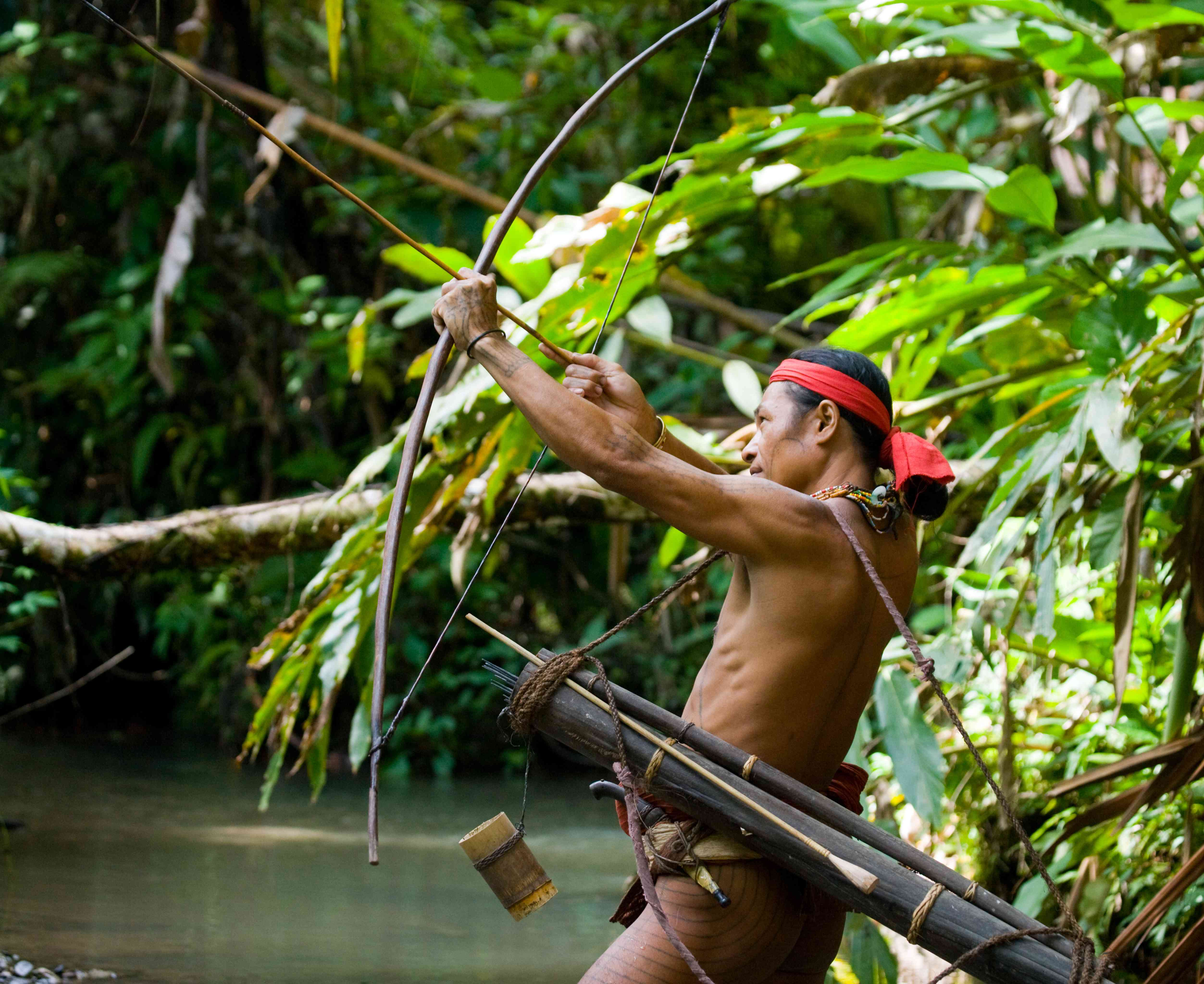 A Mentawai hunter with a bow and arrow
