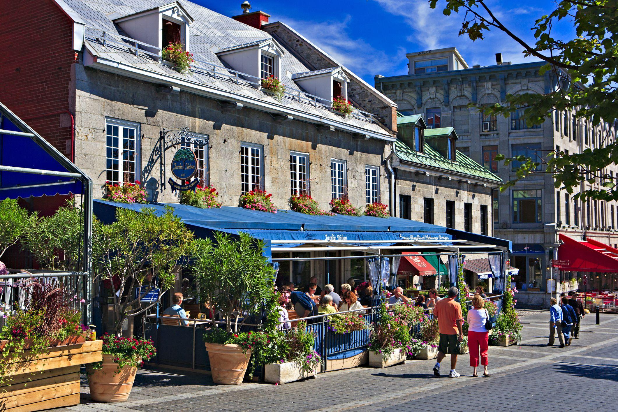 Old Montreal restaurant patio