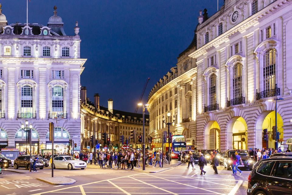 Piccadilly Circus and Regent Street at night, London, UK