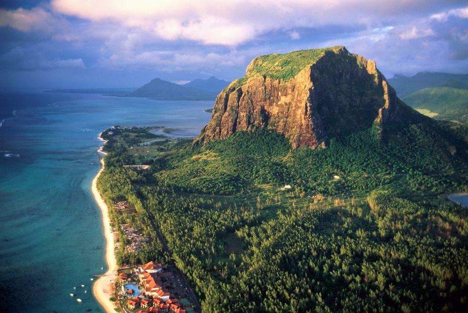 Mauritius, Le Morne Brabant, aerial view
