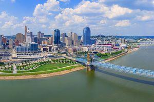 Cincinnati Ohio skyline with John Roebling bridge aerial view summer