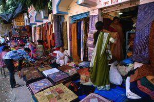 Stores selling Rajasthani fabrics at the Janpath market.