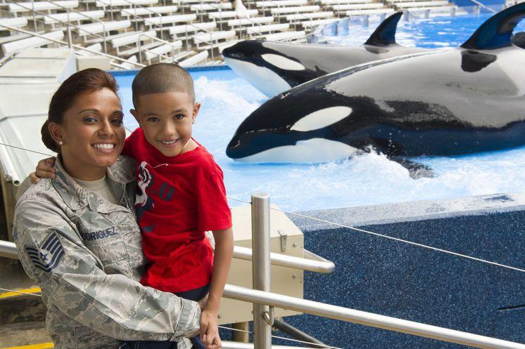 Military mom and son at SeaWorld Orlando