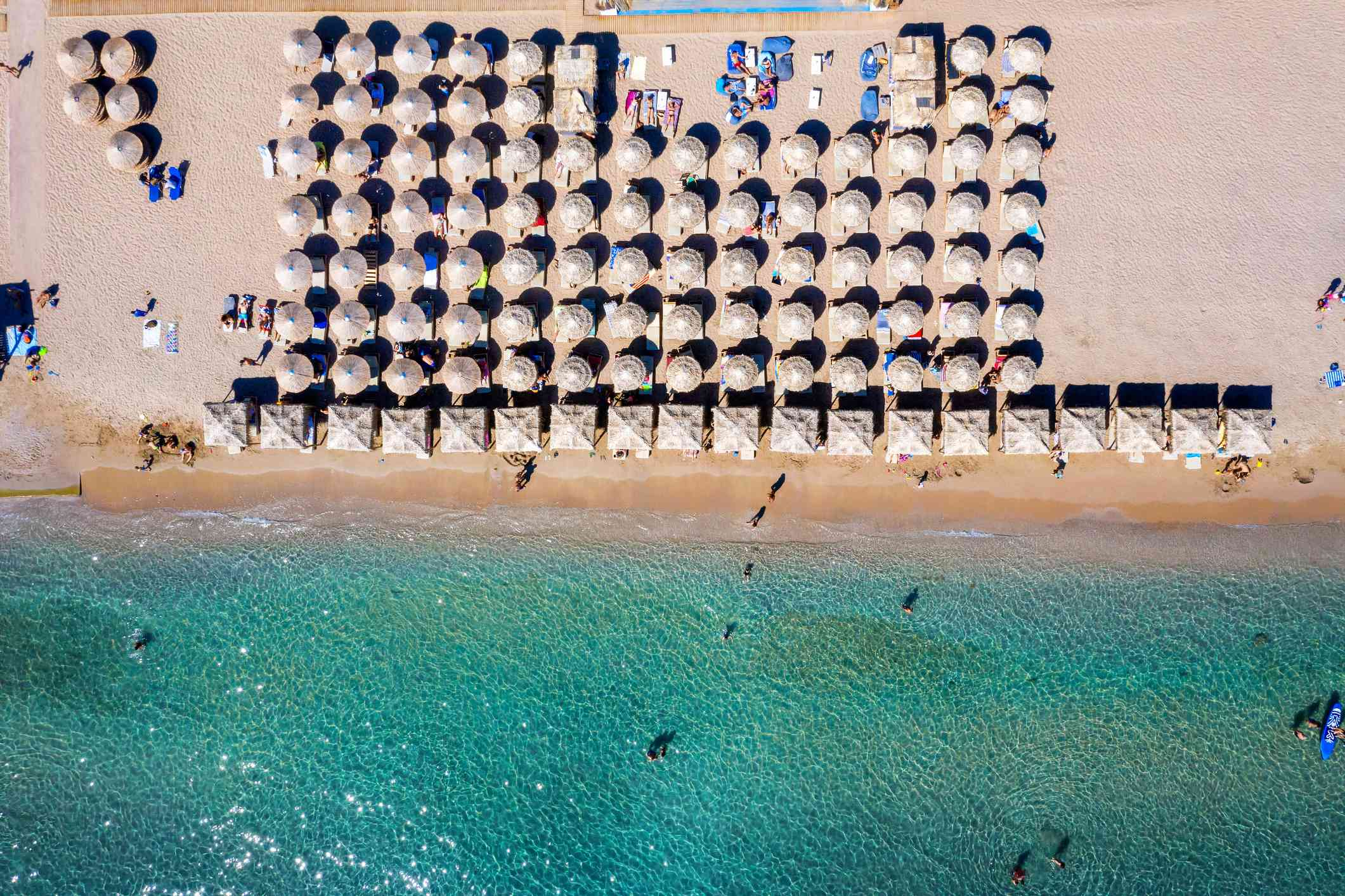 Aerial top down view to a beach on the south coast of Athens, Greece