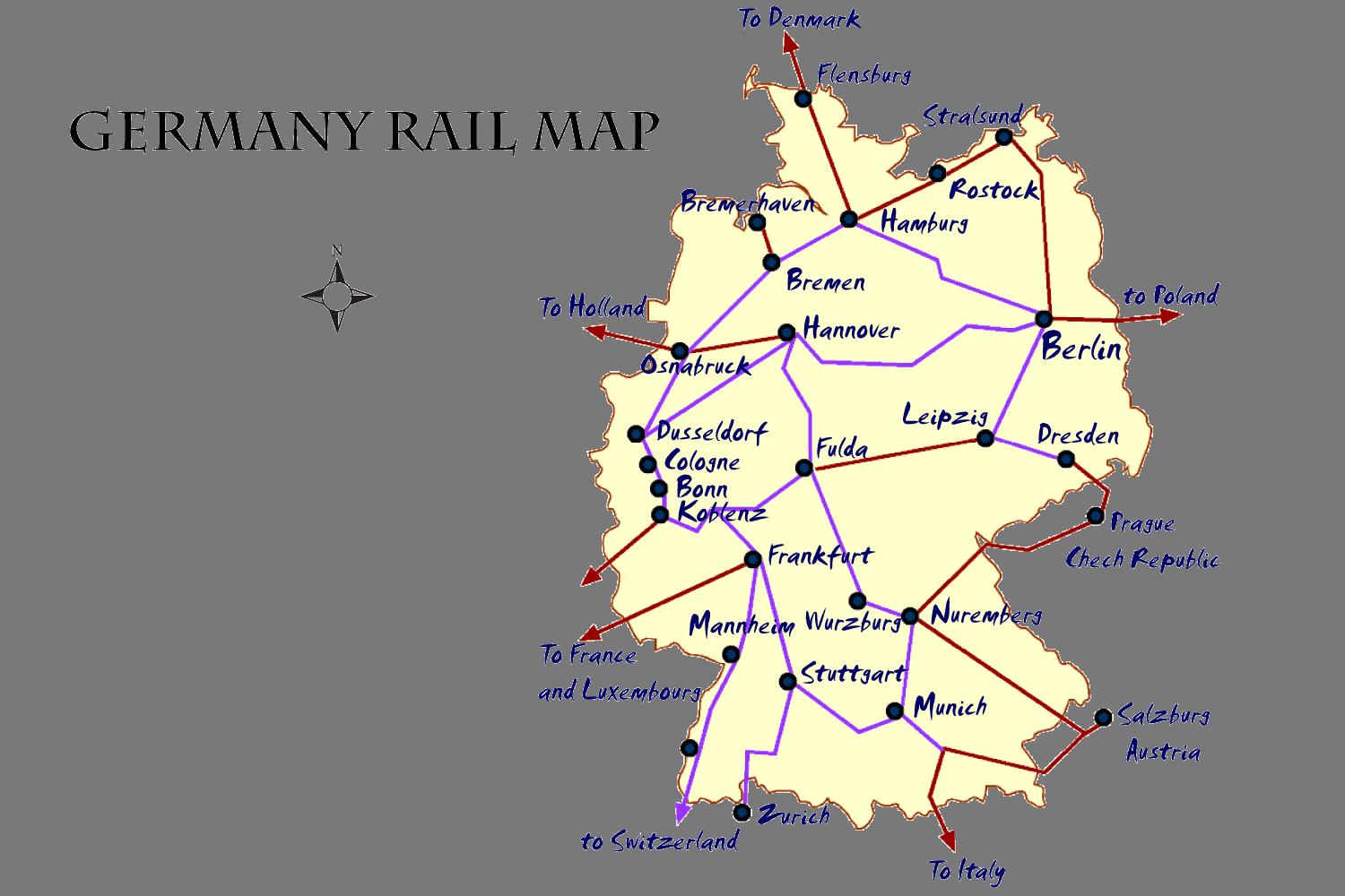 Map Of Germany Showing Cologne.Germany Rail Map And Transportation Guide