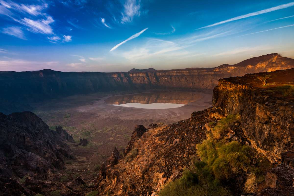 Looking down into Al Wahbah Crater