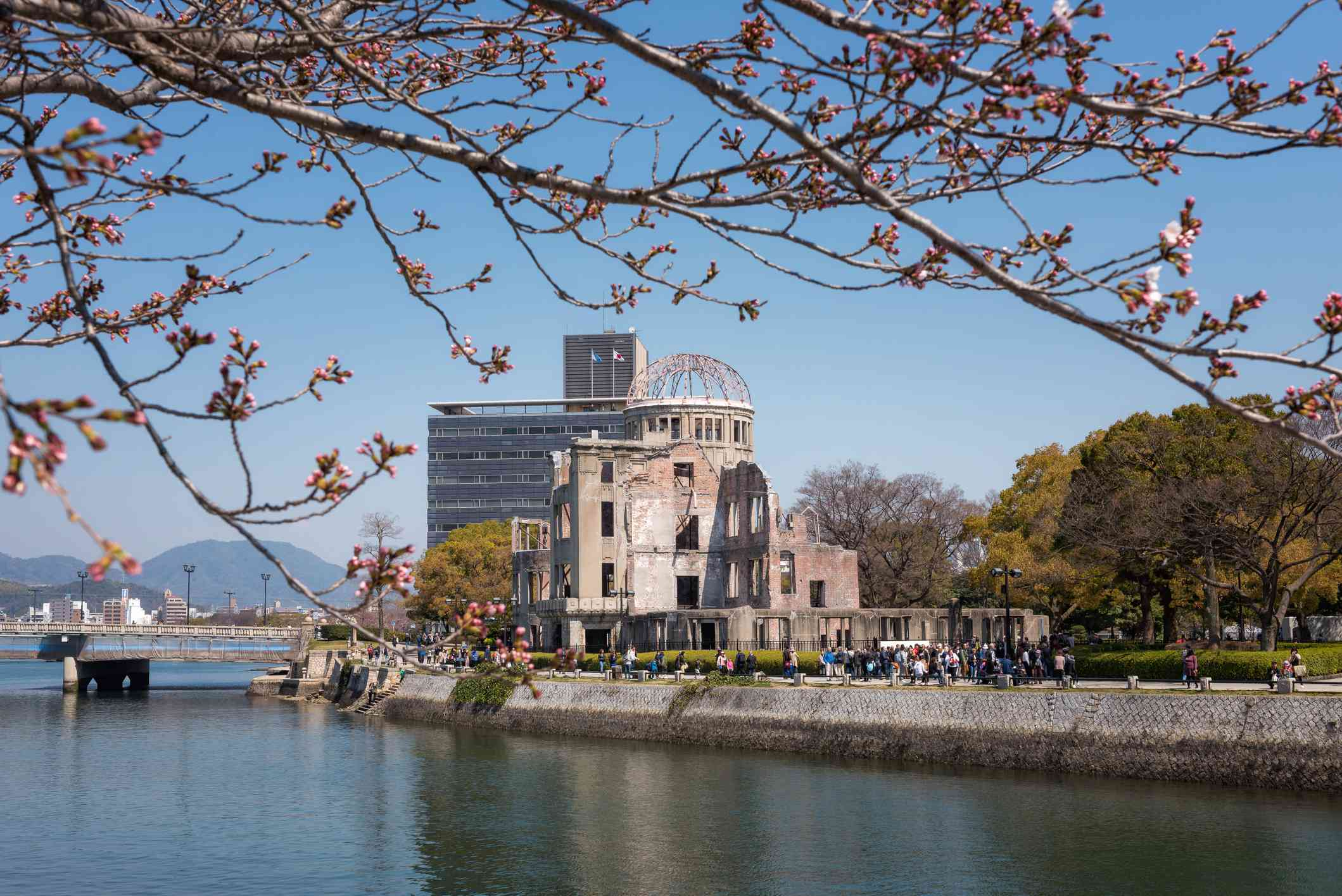 The Hiroshima Peace Memorial, commonly called the Atomic Bomb Dome or A-Bomb Dome is part of the Hiroshima Peace Memorial Park in Hiroshima, Japan