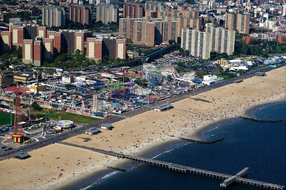 Aerial view of Coney Island in New York