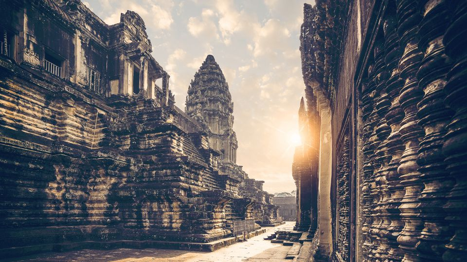 Angkor Wat sunrise from inside the temple complex