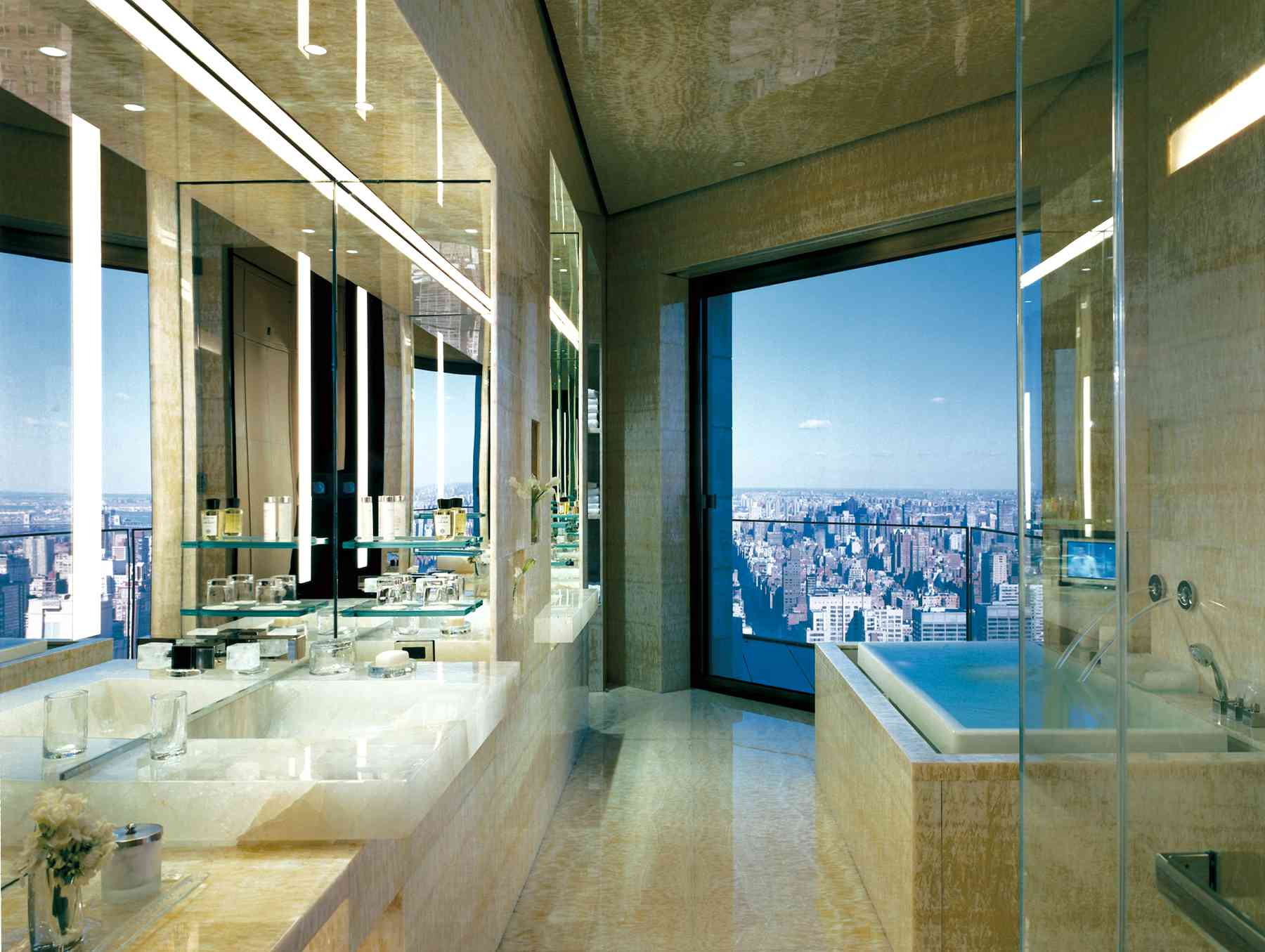 Amazing NYC view from the bathroom of the master bathroom of the Ty Warner Penthouse Suite, Four Seasons Hotel New York