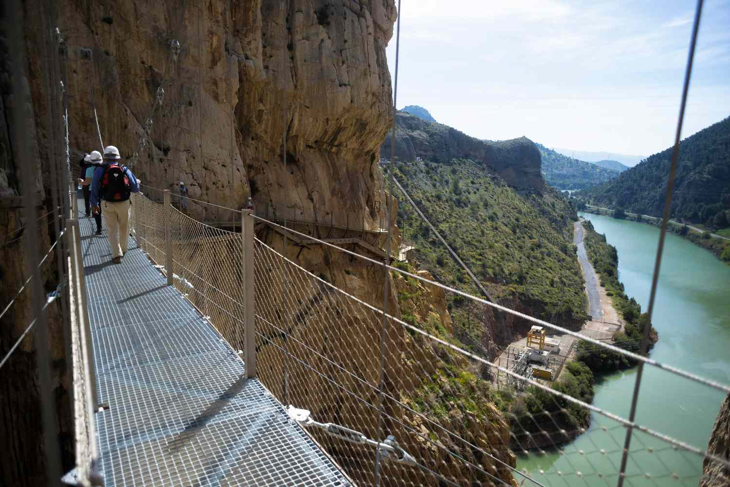 People walking on the Caminito del Rey in Malaga, Spain