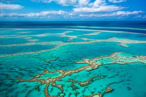 Aerial of Great Barrier Reef at Whitsunday Island