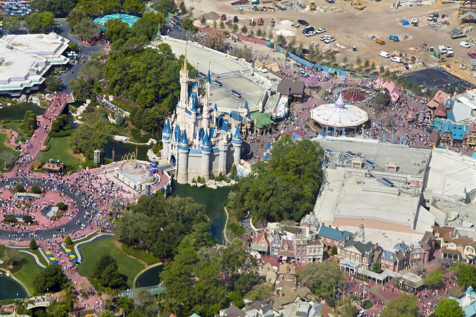 an aerial view of disneyland