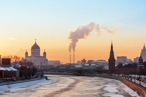 View of Moskva river, Cathedral of Christ the Saviour and Moscow Kremlin